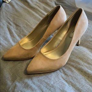 Tan faux suede heels
